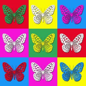 Pop art illustration with colorful butterflies