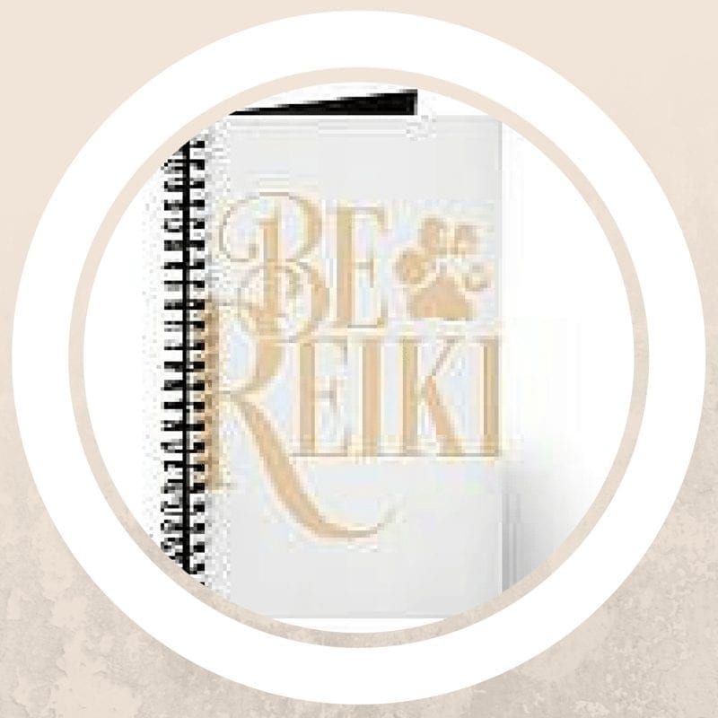 white journal with gold be reiki pawprint design