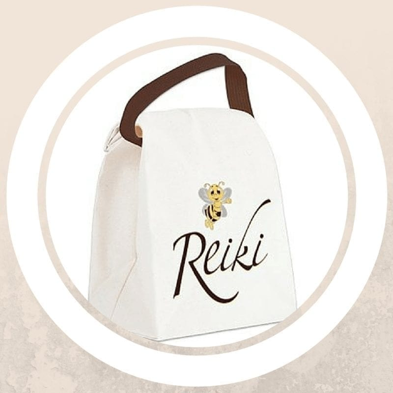 lunch bag with bee reiki design