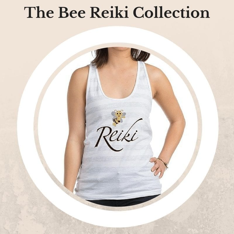 a white striped tanktop shirt with bee reiki design
