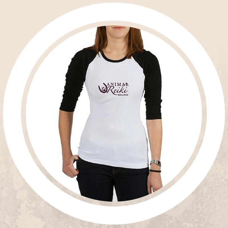 black and white jersey t shirt with animal reiki source design