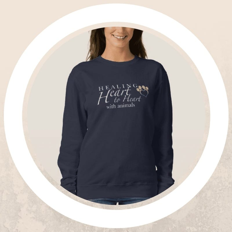 black sweatshirt with healing heart to heart with animals design