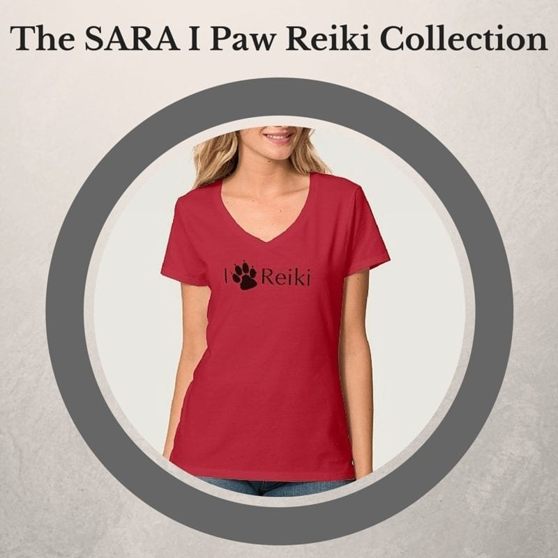 Red T shirt with I Paw Reiki design