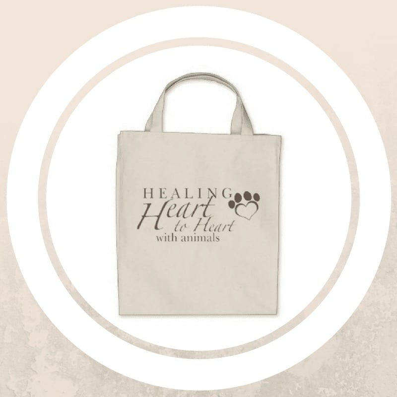 tan tote bag with healing heart to heart with animals design
