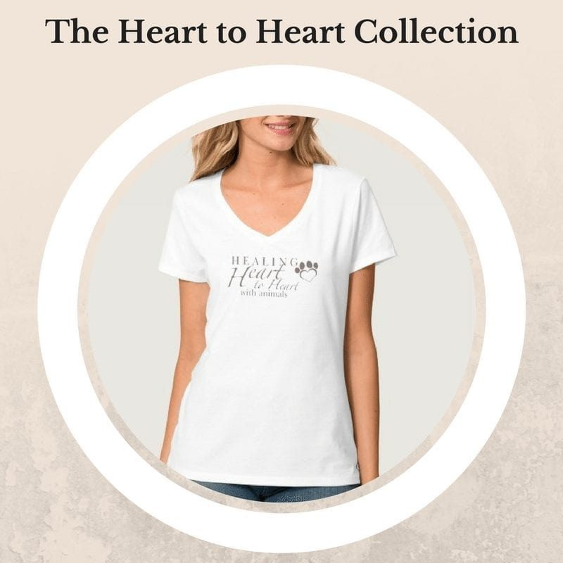 white t shirt with healing heart to heart with animals design